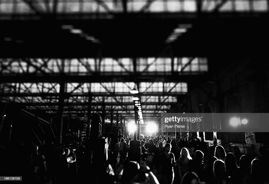 Crowd arrive for the Manning Cartell show during Mercedes-Benz Fashion Week Australia Spring/Summer 2013/14 at Carriageworks on April 9, 2013 in Sydney, Australia.