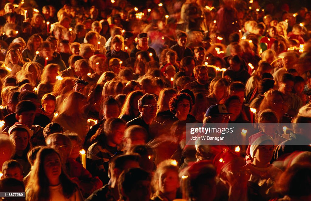 Crowd at Carols By Candlelight on Christmas Eve.