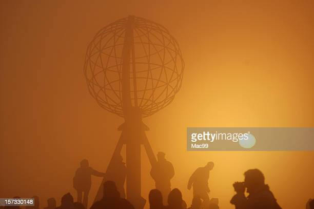 Crowd at Nordkap (Midnight Sun with Fog)