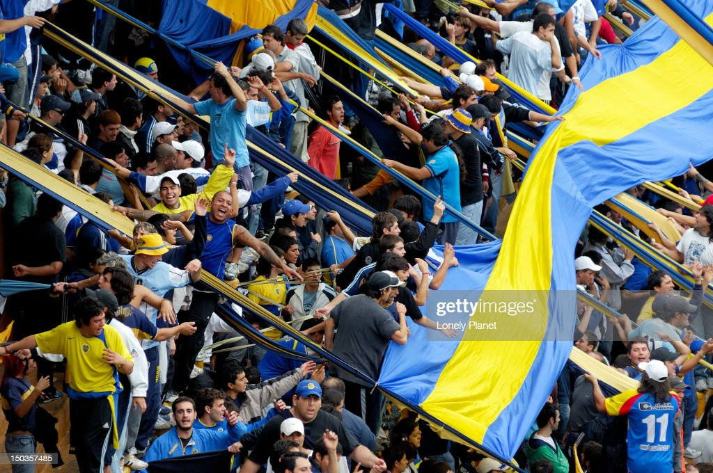 Crowd at the match between Boca and River Plate at La Bombonera Club Atletico Boca Juniors.