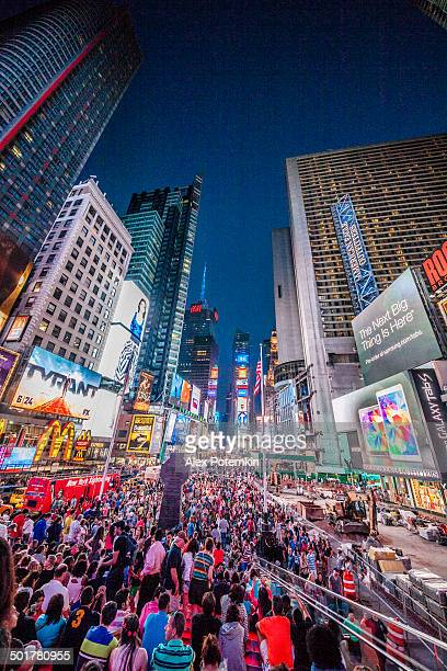 Crowd at Times Square in the night. Manhattan, New York.