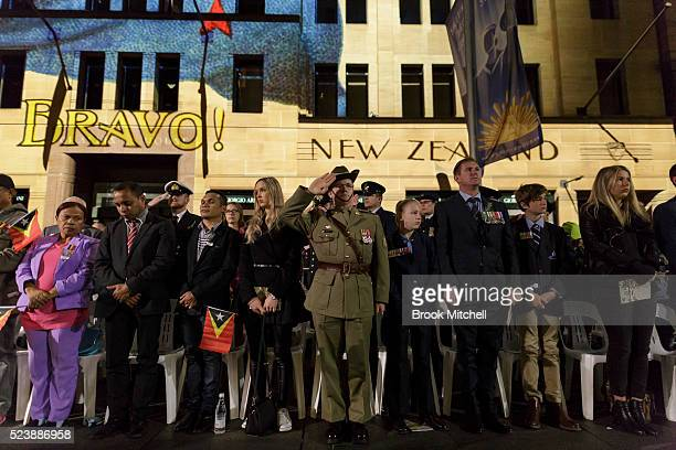 Crowd attend the ANZAC Day dawn service on April 25th 2016 Australians commemorating 101 years since the Australian and New Zealand Army Corp landed...