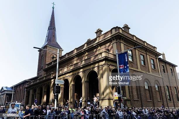 Crowd attend the ANZAC Day parade on April 25 2016 in Sydney Australia Australians commemorating 101 years since the Australian and New Zealand Army...