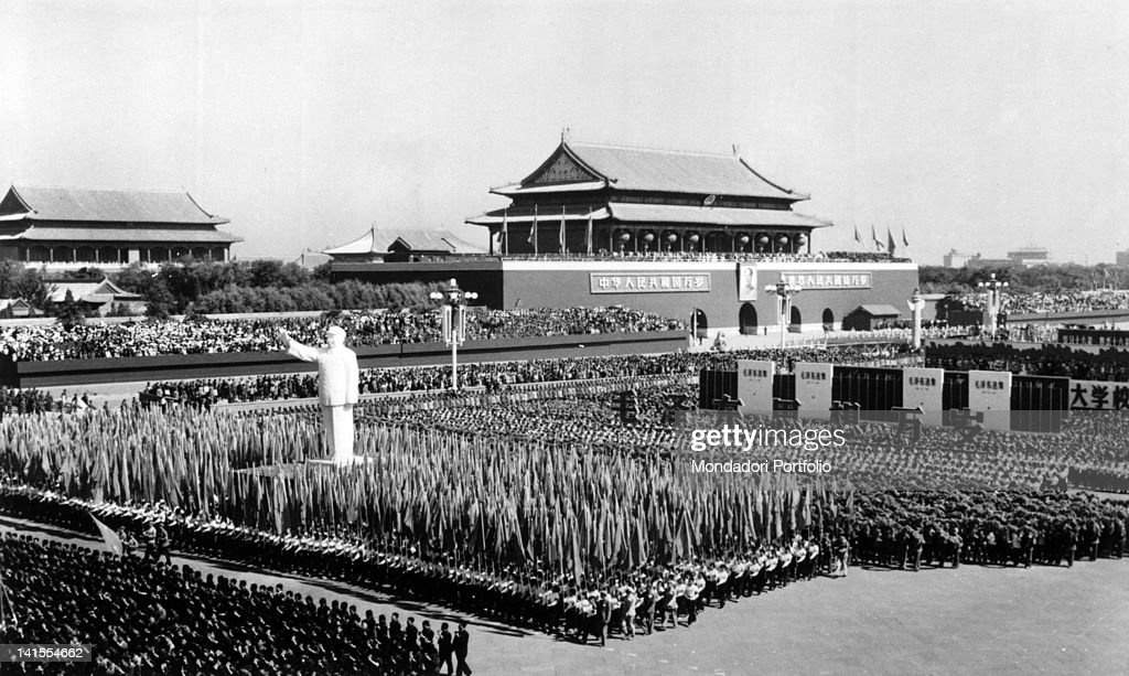 Crowd attending a parade of the Communist Party of China in Tienanmen Square Beijing 1960s