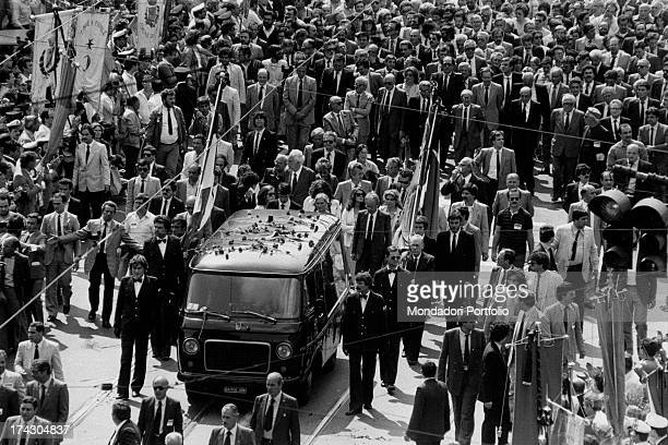 A crowd attending the funeral of the General Secretary of Italian Communist Party Enrico Berlinguer Rome 13th June 1984