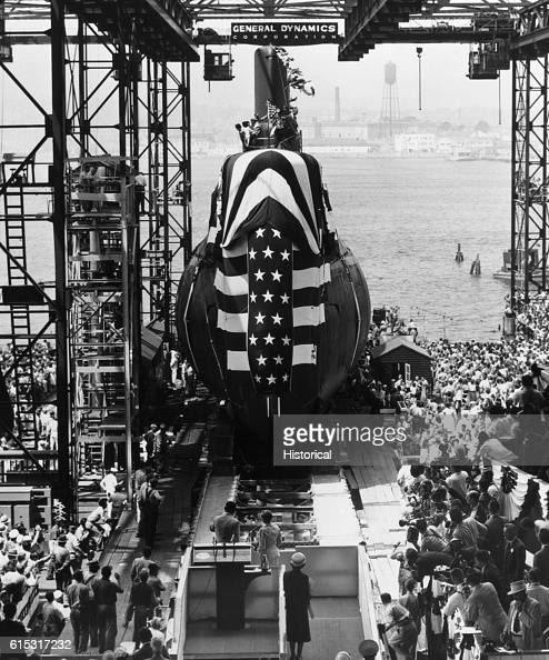 A crowd awaits the launching of the nuclear powered submarine Seawolf in Groton Connecticut July 21 1955 The Seawolf is the second nuclear powered...