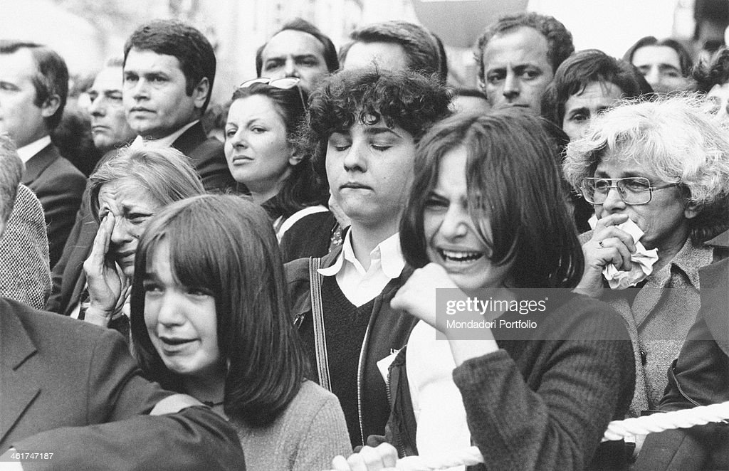 Crowd crying at the funerals of the President of the Socialist Federal Republic of Yugoslavia <a gi-track='captionPersonalityLinkClicked' href=/galleries/search?phrase=Josip+Broz+Tito&family=editorial&specificpeople=93742 ng-click='$event.stopPropagation()'>Josip Broz Tito</a>. Belgrade, 8th May 1980