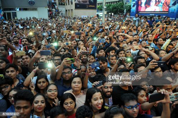 Crowd enjoy the performance of Bollywood actors Bhumi Pednekar and Akshay Kumar during the 4th season finale of Hindustan Times Friday Jam to promote...