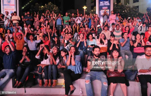 Crowd enjoying the performance of Banned Live Swarrveda Live and Delhi Indie Project Live Band during the Jam season4 in Cyber Hub organised by...