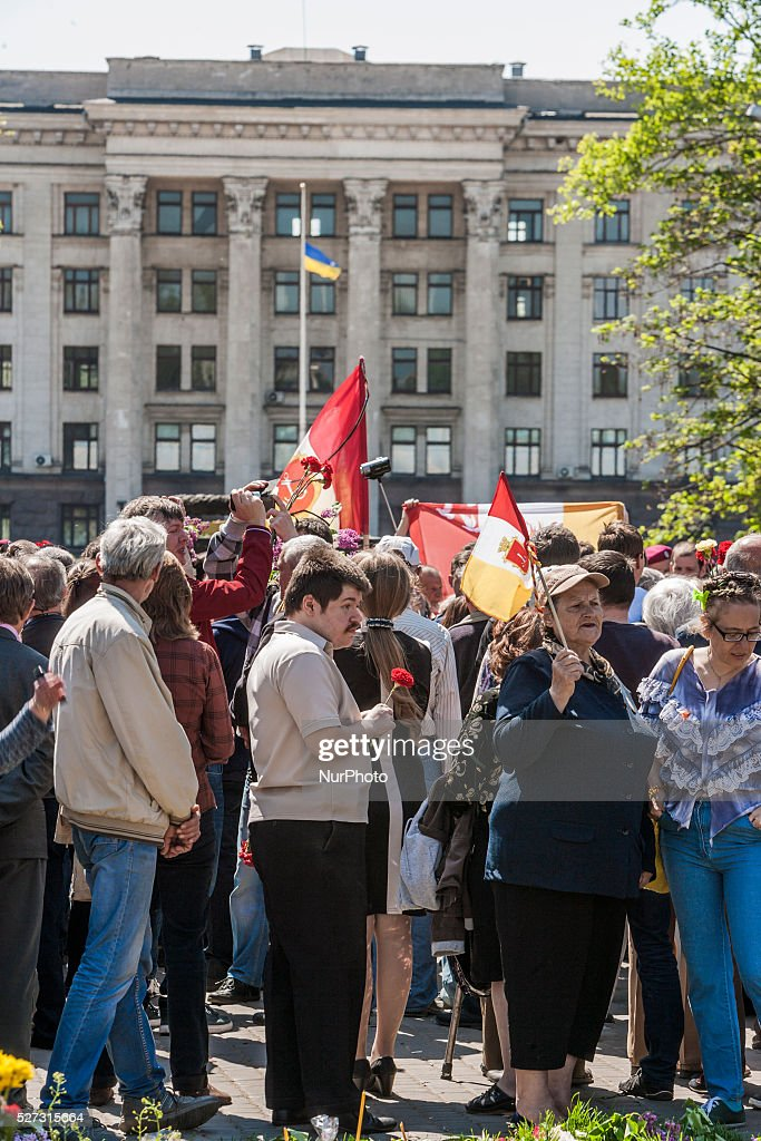 Crowd gathered in the main entrance to Kulikovo Pole square in Odessa, southern Ukraine, on May 2, 2016, in remembrance of the dead people in the Trade Unions House clashes on 2nd of May on 2014. The square was closed all the day by strong police security because a bomb threat.