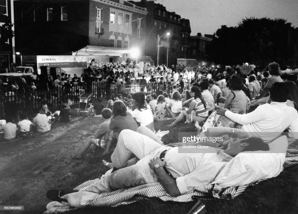 A crowd gathers for a Summerthing concert on Bunker Hill Street in Boston on Jun. 30, 1971.