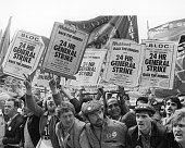 A crowd gathers outside the TUC conference hall in Brighton demanding a General Strike to show support for the ongoing miners' strike 3rd September...