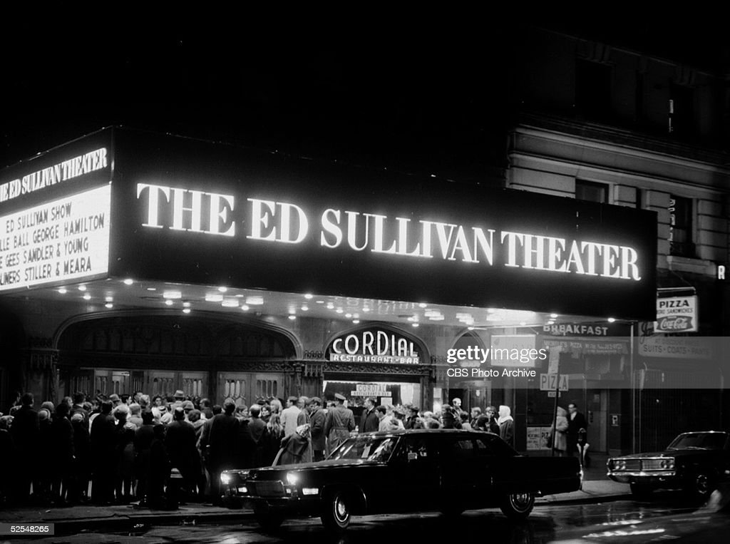 A crowd gathers under the marquee outside the Ed Sullivan Theater at Broadway and 53rd Street, New York, New York, March 17, 1968. The guests for that week include Lucille Ball, The Bee Gees, Sandler & Young, George Hamilton, and Stiller & Meara.