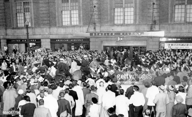 A crowd greets President John F Kennedy at the Statler Hilton Hotel in Boston May 29 1961