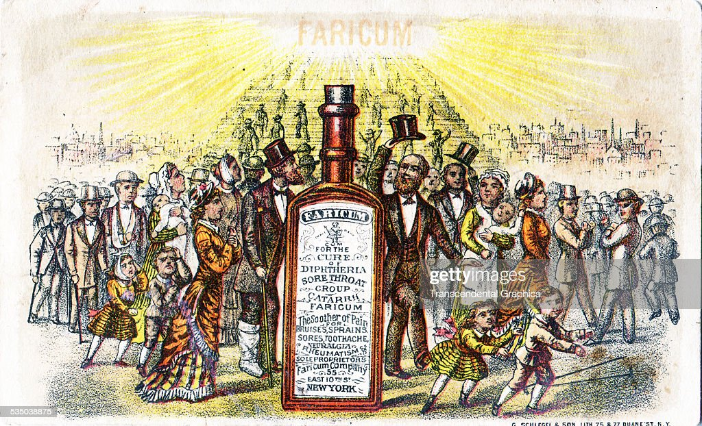 A crowd has gathered around a bottle of fake medicine in this advertising trade card printed in New York City around 1880