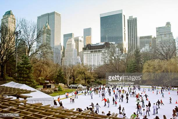 Crowd ice skating in Central Park Trump rink