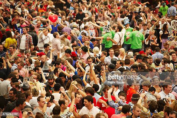 Crowd in a beer tent at the Oktoberfest on September 19 2010 in Munich Germany