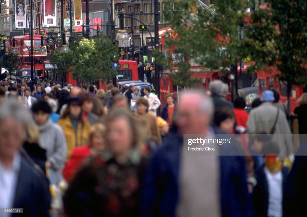 Crowd in city, blurred. : Stock Photo
