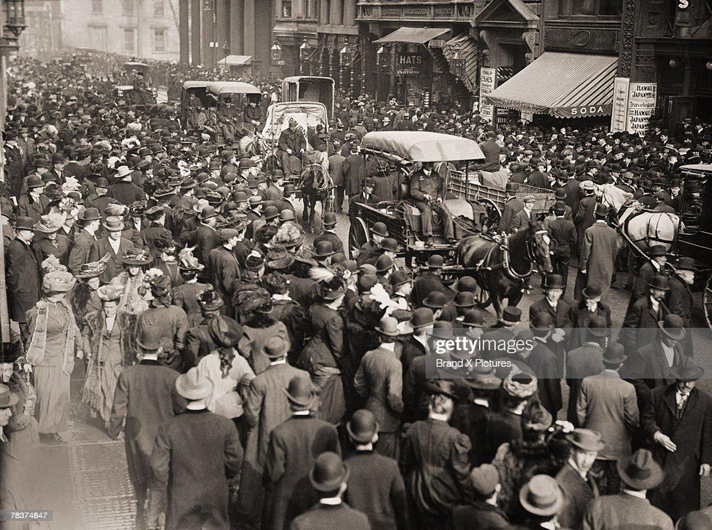 Crowd in city street : Stock Photo