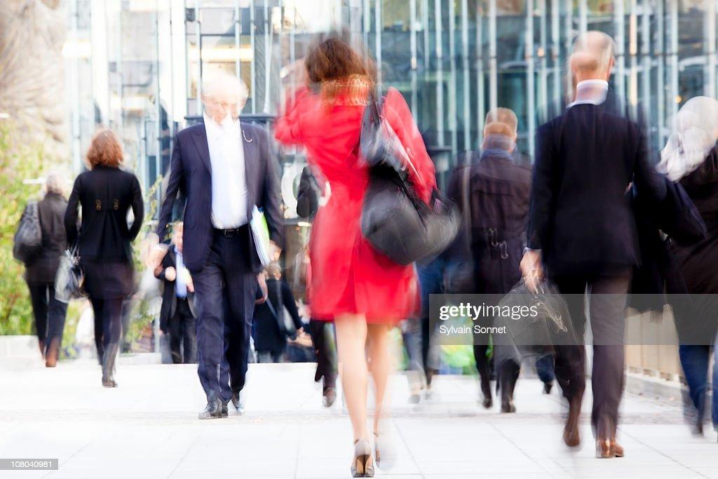 Crowd in Financial District, La defense, Paris : Stock Photo