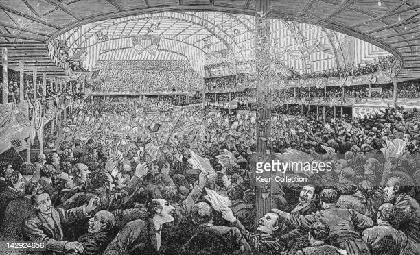 A crowd in the Auditorium Building during the 1888 Republican National Convention where Benjamin Harrison was nominated for President and Vice...