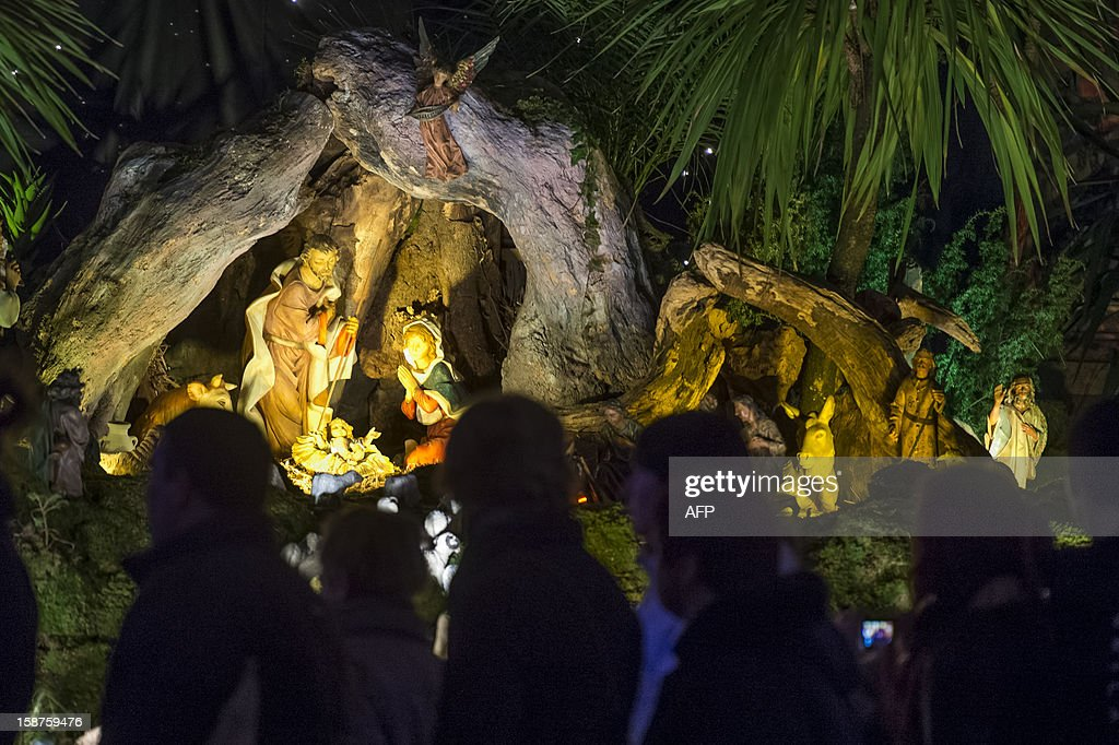 A crowd looks at the nativity scene in the centre of Ljubljana during year-end festivities and celebrations for the upcoming new year on December 27, 2012. AFP PHOTO / Jure MAKOVEC