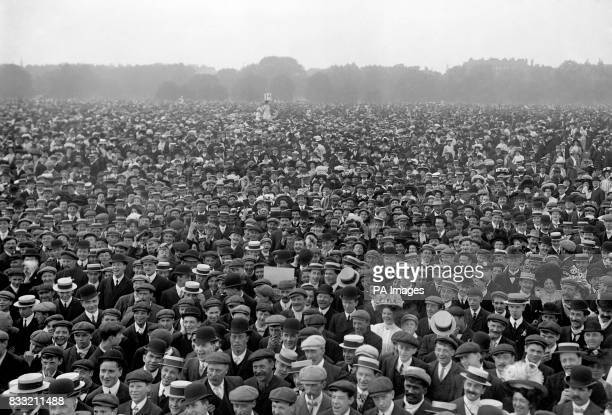 A crowd of 250000 people attend a demonstration in Hyde Park in favour of women's suffrage