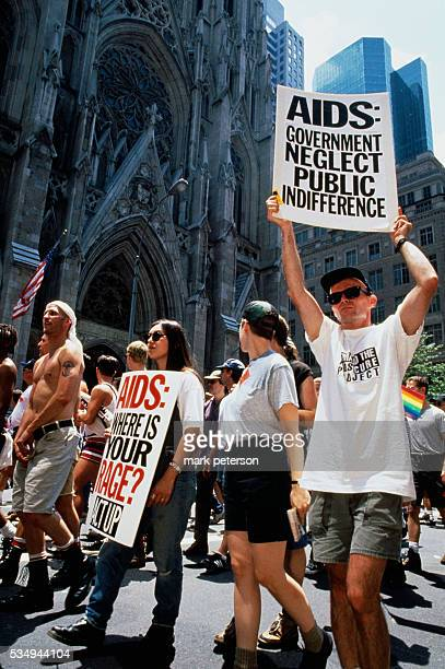 A crowd of ACT UP activists march in front of St Patrick's Cathedral during the twentyfifth anniversary celebration of the Stonewall Uprising On June...