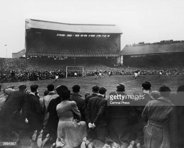 A crowd of around 82000 watching Chelsea play Moscow Dynamo at Stamford Bridge in the first game of the Russians' tour of Britain