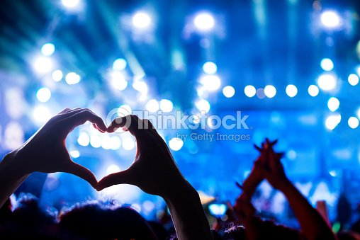 Crowd of Audience at during a concert : Stock Photo