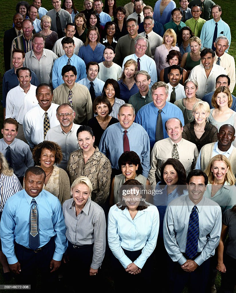 Crowd of business people, portrait, elevated view : Stock Photo