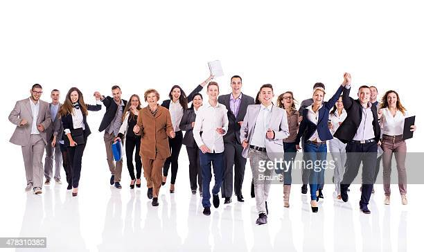 Crowd of cheerful business people running. Isolated on white.