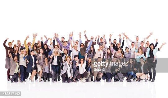 Multitudes de empresarios alegre con aumento de las manos.