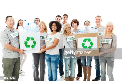 Crowd of cheerful volunteers holding recycling  boxes.