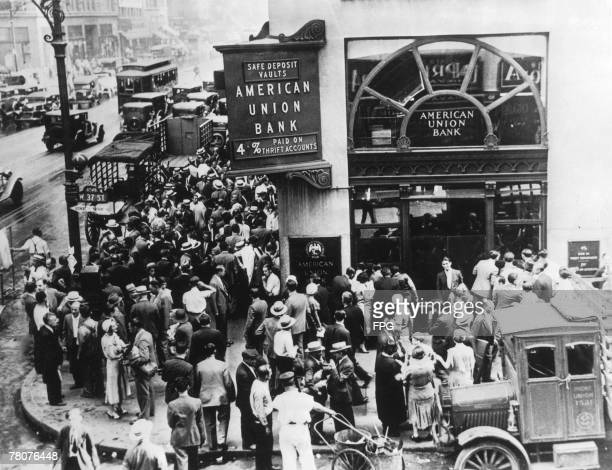 A crowd of depositors outside the American Union Bank in New York having failed to withdraw their savings before the bank collapsed 30th June 1931
