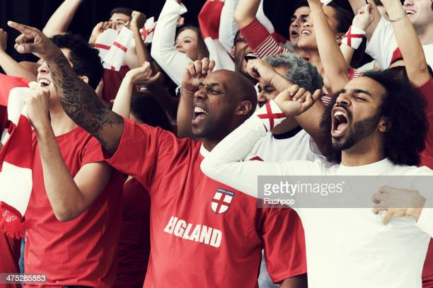 Crowd of England fans at sporting event