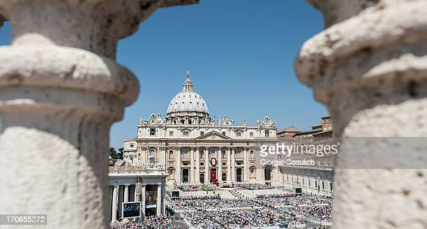 Crowd of faithful attend the mass for the 'Evangelium Vitae' Day at St Peter's Square on June 16 2013 in Vatican City Vatican