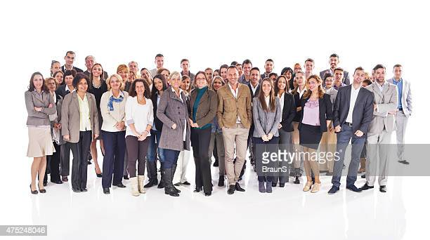 Crowd of happy business people isolated on white.