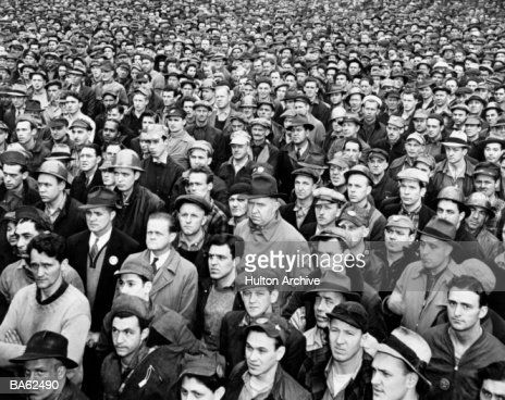 Crowd of industrial workers (B&W) : Stock Photo