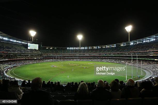 A crowd of just over 40000 attend the round 15 AFL match between the Collingwood Magpies and the Carlton Blues at Melbourne Cricket Ground on June 29...