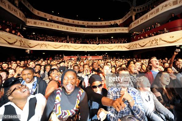 A crowd of music fans enjoy Janelle Monae's performance at Shepherd's Bush Empire on December 5 2010 in London England