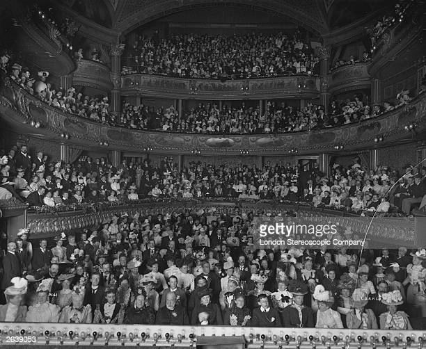 A crowd of parents and pupils of Charterhouse School at the Charterhouse Matinee in the Haymarket Theatre London