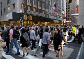 Crowd of pedestrians crossing a street in Manhattan on September 23 in New York City United States Photo by Thomas Koehler/Photothek via Getty Images