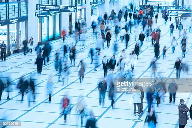 Crowd of pedestrians walking