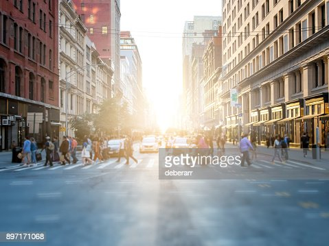 Crowd of people crossing street in New York City : Stock Photo