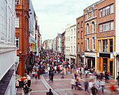 Crowd of people on Grafton street in Dublin, Ireland