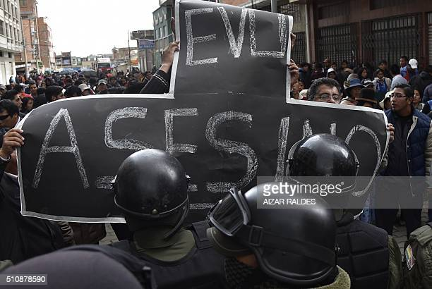 A crowd of people protest in front of the city hall of El Alto 12 km from La Paz on February 17 2016 Six people died from smoke inhalation when a...