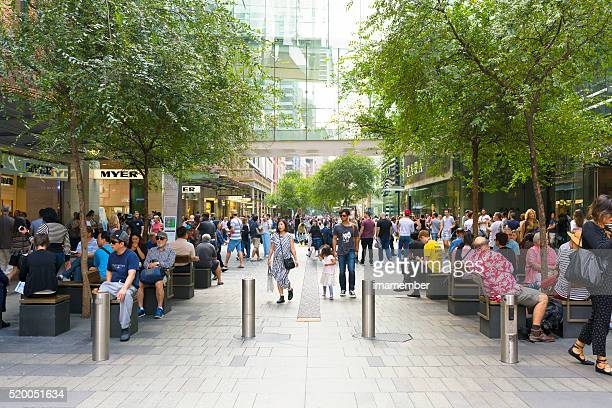 Crowd of people, tourists and sightseers on Pitt Street Mall