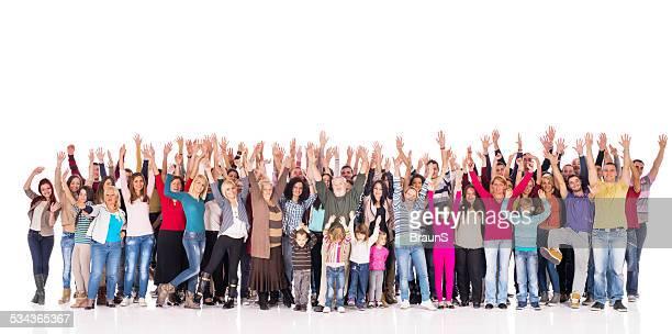 Menge von Menschen mit heben Hände.