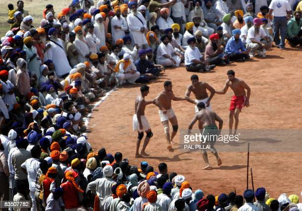 A crowd of Sikhs watch a Kabaddi match at the Khalsa Sports Festival in Nanded some 650 kms south of Mumbai on October 31 2008 Sikhs all over the...